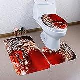 ZEZKT Toiletten Sitzabdeckung und Teppich-Set, Weihnachtsdeko WC Cover Toiletten Sitzbezug Badezimmer Verziert Toilet Seat Cover Kreativ Festival Ornament (F)