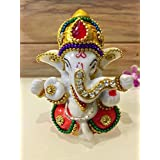 Karigaari India White Stone God Ganesha Car Dashboard Decor Statue | Hindu Idol God Ganesh Ganpati Decor Sculpture | Decorative Gift