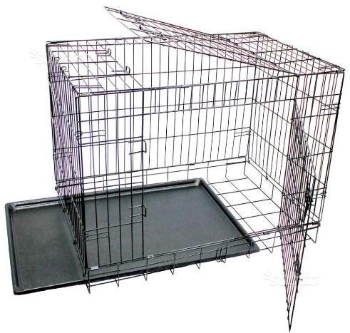 Käfig für Welpen Hund aus Metall, 2Anschlüsse Transportbox faltbar schwarz 91x61x69 cm