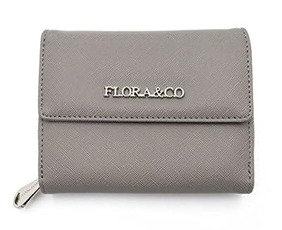 Flora&Co - Portefeuille tout en un - Petit Portefeulle femme multifonction - Porte-carte Porte-monnaie femme - Saffiano