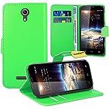 Vodafone Smart 4 Power Handy Tasche, FoneExpert® Wallet Case Flip Cover Hüllen Etui Ledertasche Lederhülle Premium Schutzhülle für Vodafone Smart 4 Power (Grün)