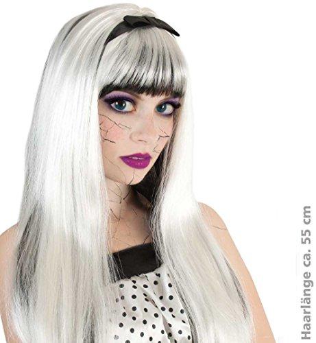 (Perücke Scary Lucy SE mit schwarzer Schleife HALLOWEEN Haarlänge: ca. 55 cm Perücke Horror Zombie Hexe Dracula Fasching)