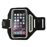 Stanbow Fascia da braccio sportiva, cinturino per cellulare resistente all'acqua per iPhone 5 5C SE 5S 6 (più) 6s (più) 7 (più) 8 (più), Running Fitness Esercizio allenamento Sport (Nero)