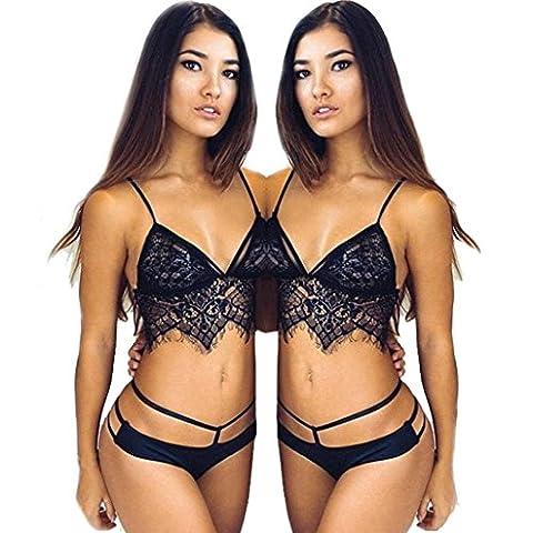 Kolylong Women Hollow Translucent Underwear Sheer Lace Frenum Strap Lingerie Bra + Briefs (L, Black