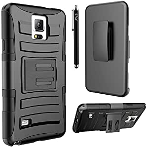 Note 4 Case, Galaxy Note 4 holster Case, E LV Galaxy Note 4 Case Cover - Shock-Absorption / High Impact Resistant Holster Belt Clip Full Body Hybrid Armor Protection Defender Case Cover for Samsung Galaxy Note 4 - BLACK