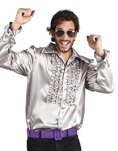 Kostüm Party Shirt / Hemd mit Rüschen, Silber, Größe M ()