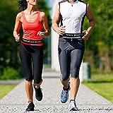 FREETOO Laufgürtel mit Doppeltaschen Wasserfest und Schweißabweisend für Smartphone Unter 6 Zoll Geeignet Damen und Herren Joggen Radfahren Wandern (Schwarz 1) - 8