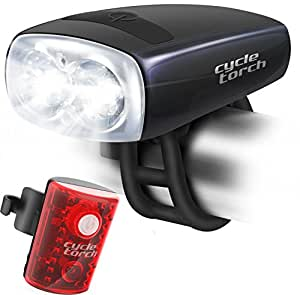 Cycle Torch Night Owl Bike Light USB Rechargeable - Perfect Urban Commuter Bicycle Light Set - Bright TAIL LIGHT Included - Compatible with Mountain, Road ,Kids & City Bicycles, Increase Safety & Visibility (Black)