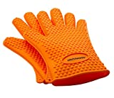 Heat Resistant Silicone Gloves (Orange) - Great for Use In Kitchen Handling High