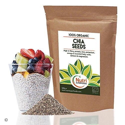 SEMILLAS DE CHÍA ORGÁNICAS NATURALES. Proteína Vegetal Alta Calidad, energizante, mejora el Rendimiento físico, Equilibra el Azúcar en la Sangre, Mejora el Metabolismo y Ayuda para Pérdida de Peso 500