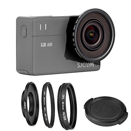 Filtro ultravioleta fino de 40,5 mm + filtro polarizador circular CPL + tapa de lente protectora de 40,5 mm + anillo adaptador para cámara SJCAM SJ8 PRO AIR Plus