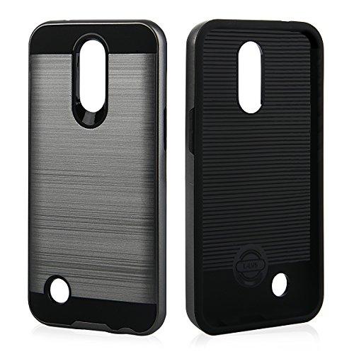 EGO® Hard Case Schutz Hülle für LG K10 2017 Grau Metallic Effect Brushed Handy Cover Schale Bumper Etui Top-Qualität Grau