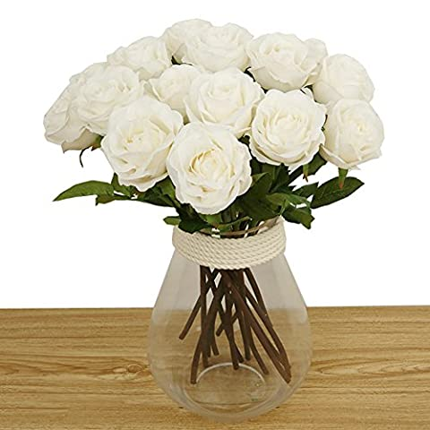 Toechmo High Quality Artificial Flowers, Real Touch Flowers Silk Artificial Rose Flowers Home decorations for Bridal Wedding Bouquet, Birthday Flowers Bunch Hotel Party Garden Floral Decor