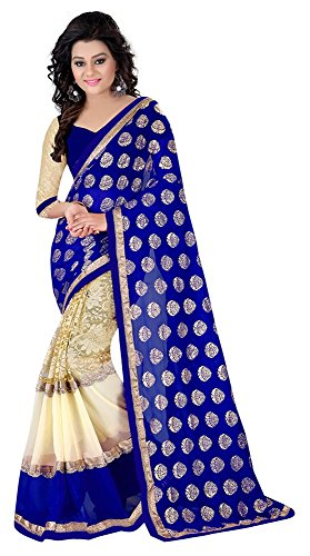 Laxmi Fashion Georgette Saree (2043_Blue-Kc-1_Blue)