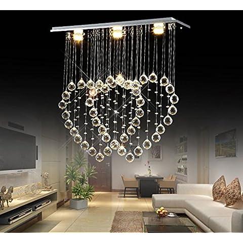 Lampadario a forma di cuore moderno ristorante minimalista cuore doppio filo appeso lampada di cristallo salone bar lampadario a LED ( dimensioni : 60x20x60cm ) - Fili A Forma Di Cuore