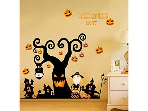 YIIO Originalität Startseite Halloween Kürbis Baum Tapete Haushalt Home Wandaufkleber Poster Home Kunst Dekoration (Schwarz + Gelb)
