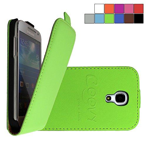COOVY Custodia per Samsung Galaxy S4 MINI GT-i9190 GT-i9195 GT-i9192 SLIM FLIP COVER CASE DELLA COPERTURA DI VIBRAZIONE PROTEZIONE, pellicola protettiva per schermo | colore verde