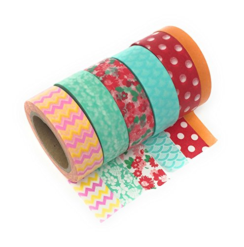 6 rolls paper washi tape each 10m long ideal for crafting scrapbooking card making etc. Black Bedroom Furniture Sets. Home Design Ideas