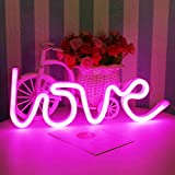 Love Neon Sign Valentine's Day Lights - LED Neon Sign Pink Indoor Décor Bedside and Table Lamps Neon Light Lamps Fixtures Battery and USB Power Home Christmas Party Decor LED Neon Sign Living Room,Bedroom XIYUNTE VC070