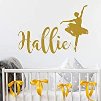 Ballerina Wall Sticker Personalized Custom Name Decal Decor Baby Room Ballet Dance Mural Girl