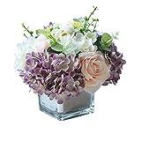 NQXXN Fiori Artificiali con Vaso, Bouquet di Fiori Finti di Seta Fresca e Vibrante e Set di vasi, per la Decorazione della Festa di Nozze