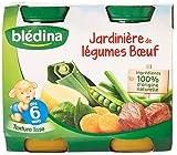 Blédina Petits Pots Jardinière de Légumes Bœuf dès 6 mois 2 x 200 g - Pack de 6