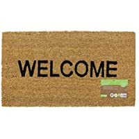 JVL Heavy Duty Welcome PVC Backed Coir Entrance Door Mat, Vinyl, Brown, 33.5 x 60 cm