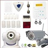 Alarmanlage Kabellos A9GSM mit Sirene Innen und Außen + Kamera HD WiFi Außen + IP Kamera Wifi drehbar–Haus T4/T5