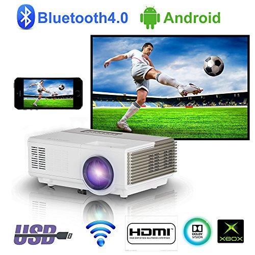 2018 Aggiornato Portable Proiettore WiFi Wireless Wifi Home Cinema con Android Bluetooth HDMI Mini Proiettore di film esterno wireless per Smartphone Bluray Lettore DVD iPhone iPad Laptop Xbox