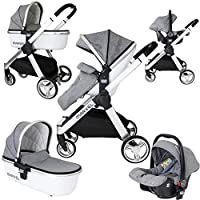 Marvel 3in1 Pram - Dove Grey (+Car Seat + Carrycot + Carseat Raincover)
