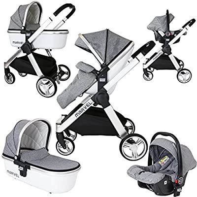 Marvel 3in1 Pram - Dove Grey (+Car Seat + Carrycot)  Maclaren UK Baby