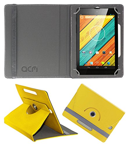 Acm Rotating 360° Leather Flip Case for Digiflip Pro Xt712 Tab Cover Stand Yellow  available at amazon for Rs.149