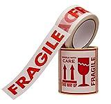 """Set Di 100 X Adesivi Fragile Formato Grande 10x10cm E 1 X Rotolo Nastro Adesivo """"Fragile"""" 50mm X 66m Nastro Da Imballaggio Per Pacchi, Rotolo Imballaggio"""