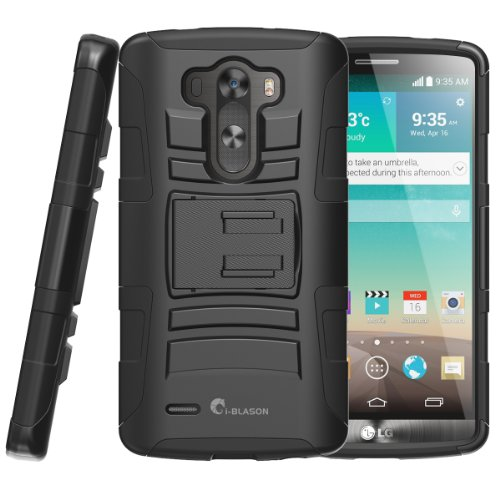 i-Blason LG G3 Case - Prime Series Dual Layer Holster Case with Kickstand and Locking Belt Swivel Clip Schwarz