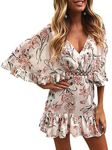 ECOWISH Damen Kleider V-Ausschnitt Sommerkleid Blumen Mini Strandkleid Boho Rüschen Fledermausärmel Freizeitkleider Rosa M - Strand Hochzeit Kleid Boho