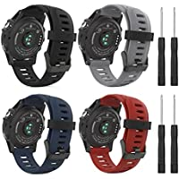 MoKo Armband für Garmin Fenix 3/Fenix 5X - [4 Stü.] Silikon Sportarmband Uhr Band Strap Ersatzarmband Uhrenarmband mit Werkzeug für Garmin Fenix 3/Fenix 3 HR GPS Smart Watch, Multicolor A