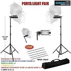 Pair Porta Umbrella Light for Still Video Photography Portable Studio Kit