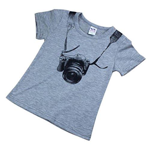 wuayi Summer Children Kids Boy T Shirt Camera Short Sleeve O Neck Tees Tops