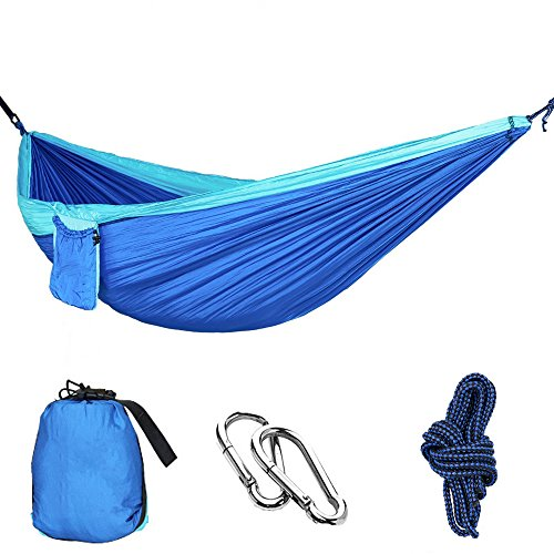 MMTX Camping Hammock 2 Person Durable Compact Hanging Parachute Nylon Fabric Sleeping Camping Outdoor Garden Beach Travel Backpacking Hiking(Green