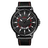 Menton Ezil Sport Armbanduhr Quarz Herren Uhr 3D Gesicht Automatisch-mechanische Uhr Lederarmband Datumsanzeige 24H Form 30M wasserdicht Leuchtender Zeiger