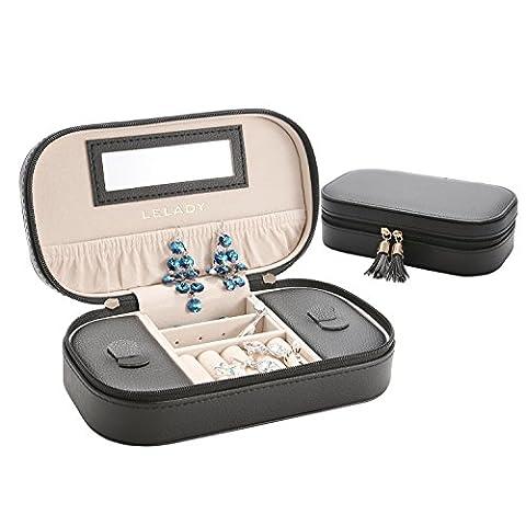 LELADY Petite Voyage boîte de stockage de bijoux, Faux cuir Box Organisateur vitrine de stockage des bijoux avec un miroir pour Anneaux Collier Boucles d'oreilles, noir