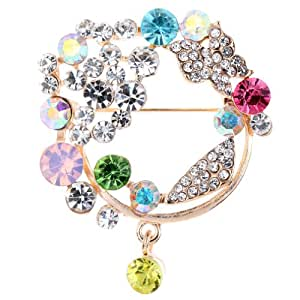 Yazilind Stylish Style Women Full Round Colorful Crystal Inlay Crystal Brooches and Pins