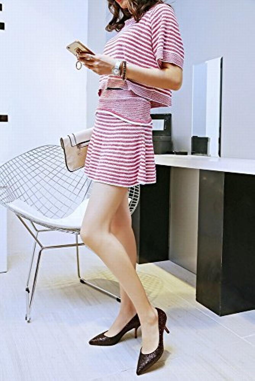 CXY Banquete de Moda Lentejuelas Gradiente Asakuchi Estilete Tacón Alto con un Solo Zapatos Femeninos, do,37