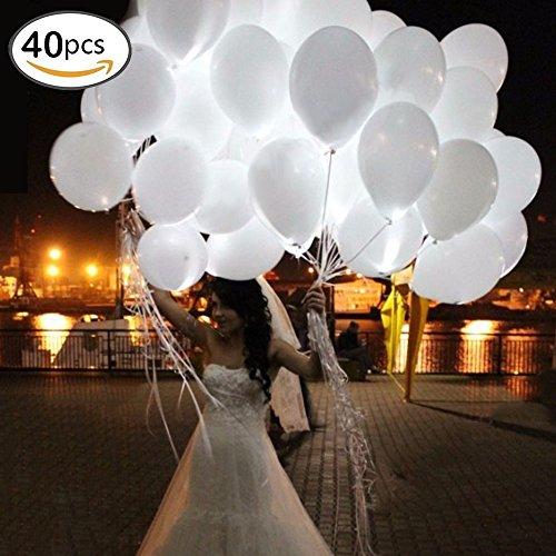 40 Pieces leutende Luftballons mit LED Licht Hochzeit Deko - über 24 Stunden Leuchtdauer für Hochzeiten Partys Geburtstage (Weiß) (Licht Kapazität Hohe)