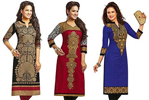 Jevi Prints Women's Cotton Dress Material (Saheli-1204-1225-1415_Free Size_Multi-Coloured)