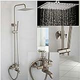 Gowe Luxus Gebürstet Nickel 20,3cm Quadratisch Dusche Wasserhahn Badewanne Armatur Handbrause Messing