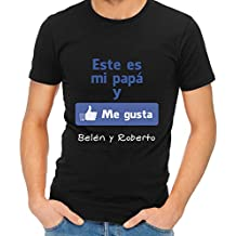 Regalo para padres por su cumpleaños, Navidad o el Día del Padre: camiseta personalizada negra 'Me gusta' con su nombre y el de sus hijos en varias tallas