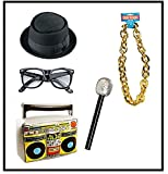 Mega Jumble® Men'S 80'S Street Hip Hop Run DMC Rapper Complete Kit Boom