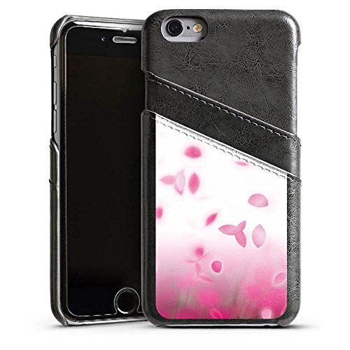 Apple iPhone 5s Housse étui coque protection pink Rose vif Pétales Étui en cuir gris