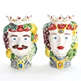 Coppia teste di moro in ceramica di Caltagirone fatte a mano
